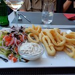 Calamari, Salad, Side of French Fries and White Wine
