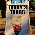 Sign with tour times outside the Barclay House where tours start