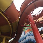 entrance to Sandcastle/Blackpool Water Park - with Aztec Falls bold and Montazooma slides above