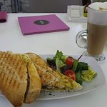 Coronation Chicken Baguette (curry chicken inside) and a Flavoured Cafe Au Lait (coconut topping