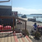 view of the lobster pound and pier at Erica's Seafood in Harpswell off Basin Point Rd