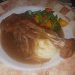 Lamb with mash and steamed vegetables