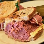 Reuben - in house corned beef, Russian dressing, sauerkraut, Swiss cheese, house baked rye bread