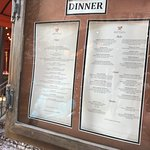 Menu posted outside the restaurant