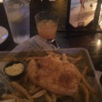 """fish & chips with """" the rambler"""" drink"""