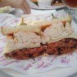 "The ""Titan"" sandwich at Roscoe's Famous Deli in Fullerton, CA - pastrami, turkey & swiss on rye"
