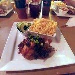 BBQ chicken, Mac & Cheese, & Cucumber and corn salad