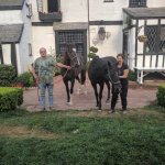 Pamella was kind enough to take a picture of us with our horses in front of the inn.