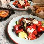 Village salad, saganaki and garlic bread