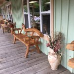 Loved the quaint log furniture found on the porches