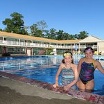 This is a pic of my girls on one of the several mornings they enjoyed the swimming pool!