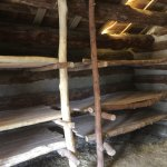Reconstruction of a soldier's wooden hut with bunks.