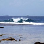 Strong waves in Magpupungko Beach in Siargao