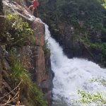 Warm up abseil on the canyoning trip!