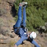 Hanging upside down over the canyon