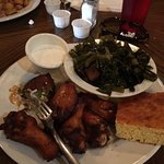 Wings and collard greens
