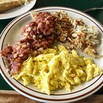 corned beef hash with hash browns and eggs