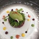 Duo of beetroot with Apple and a Avocado sorbet