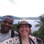Monchi and I on the bridge to nowhere. Beautiful view of the Samana Bay.