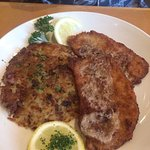 Wienerschnitzel with brown butter. Delicious, had a bite, wanted more! $16