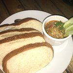 smoky, spicy eggplant dip with bread (not pita)