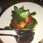 Chargrilled peppers (vegetables) with lime leaf pesto sauce