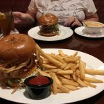 Steakhouse burger with bleu cheese and onion straws