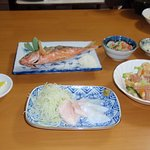 "Dinner at the hotel. Good stuff! The fish in ""Fried Gurukun"", a real Okinawa delicacy."