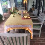 Porch table set for breakfast
