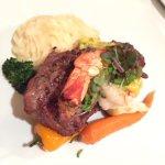 NY Strip Steak with giant shrimp