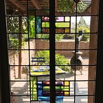 View to our Patio through the Stained Glass Window