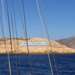griechische Flagge aus Steinen