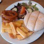 Chicken ceaser and a veggie burger