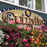 Gulliver's Cafe - surrounded by flowers.