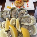 Oysters and Crab Cakes. We requested only lemon for ours. Mmmmm fresh and good.