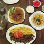 Ghavurma (shredded steak) with fries, baba ghanooj and Toshka