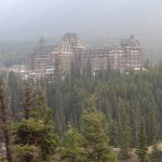 Banff Springs Hotel amidst the BC smoke