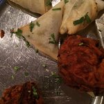 Onioin Bhaji and Lamb Samosa