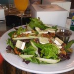 Salad w/ Brie, Candied Walnuts and Pears & Mimosa with Apple Pie Spice