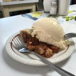Strawberry rhubard pie a la mode (Blue Bunny vanilla, natch)