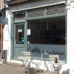 The front of the cafe bathed in sunshine
