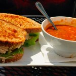Chicken Salad Sandwich with Tomato Soup