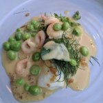 Appetizer (witch-flounder with peas and shrimp and chicken skin)