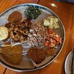 Array of food on injera
