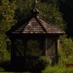 Gazebo with bird of prey