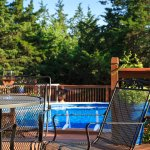 Enjoy our pool and patio during the warm summer months