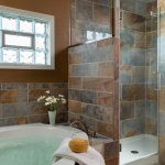 The bathroom in the recently renovated Country Meadow Room at Cedar Crest Lodge.