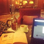 Working in the lovely lobby with a good cup of tea