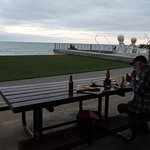 Good fish, chips and beer with a view