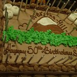 """the cake, Satomi climbed Mt Fuji japan for her 50th, hence the """"hill"""""""